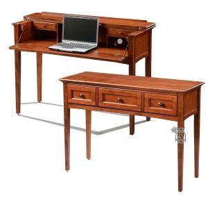 solid alder mckenzie console table with hidden desk in antique cherry glazed finish