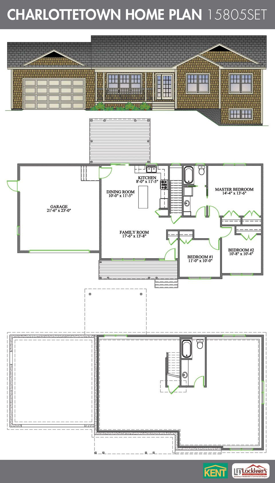 Charlottetown 3 bedroom 1 bathroom home plan features open concept living room dining room Master bedroom plan dwg