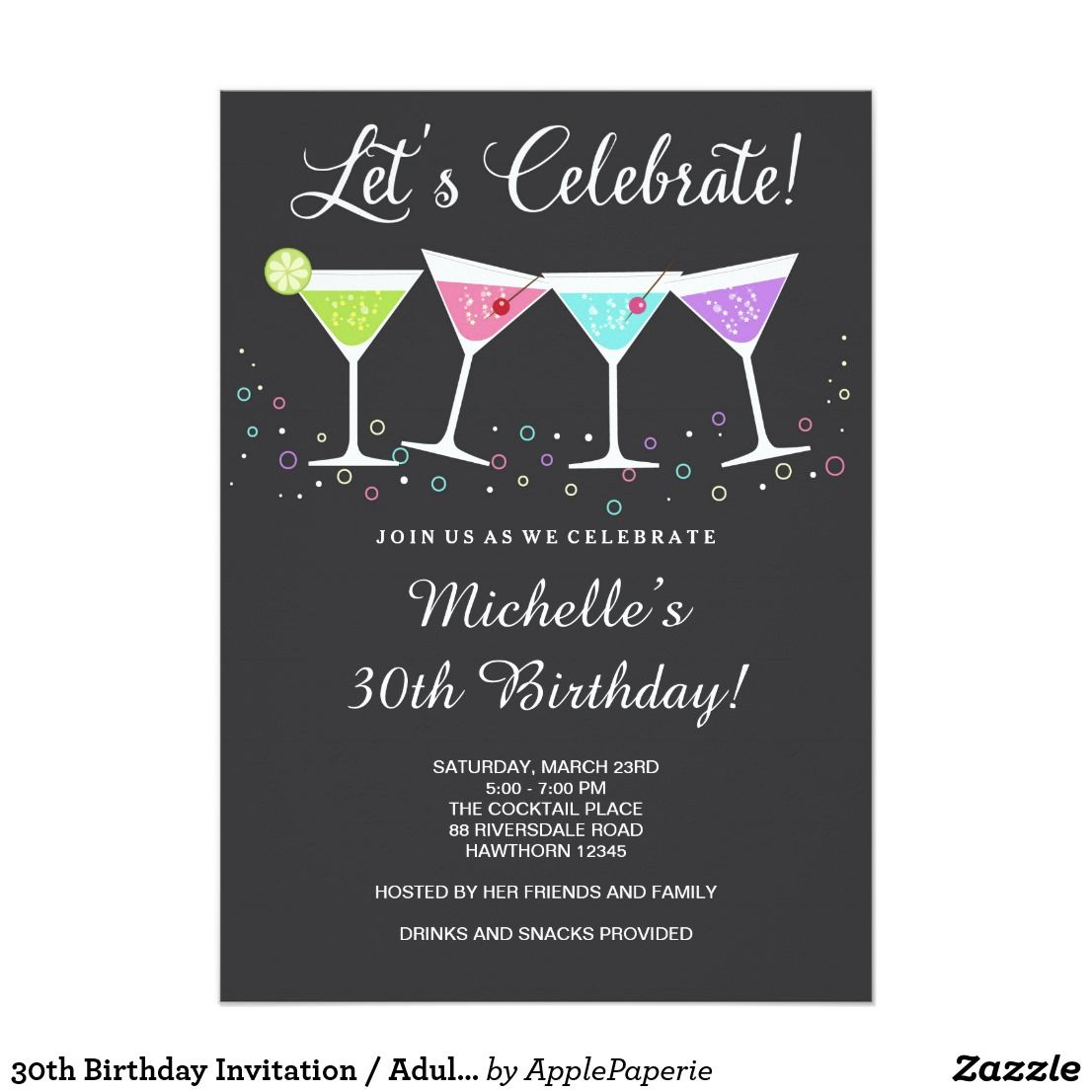 30th Birthday Invitation Adult Invite