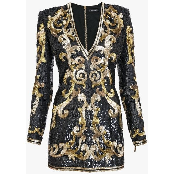 Balmain Sequins Embellished Mini Dress 4 255 Liked On Polyvore Featuring Dresses Long Sleeve Short