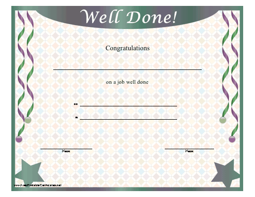 A Printable Certificate With Stars And Streamers Offering