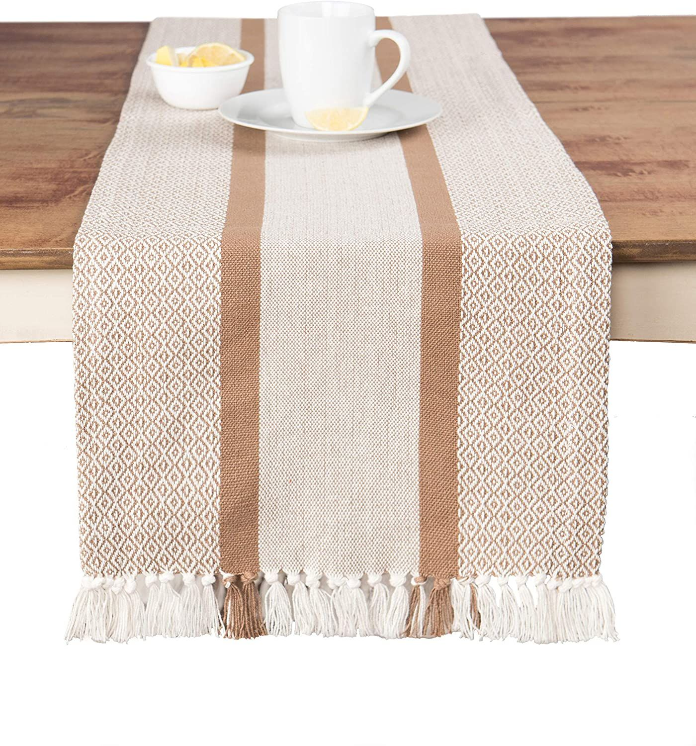 Photo of Sticky Toffee Cotton Woven Table Runner with Fringe, Traditional Diamond, 14 x 72 – Tan Traditional Diamond