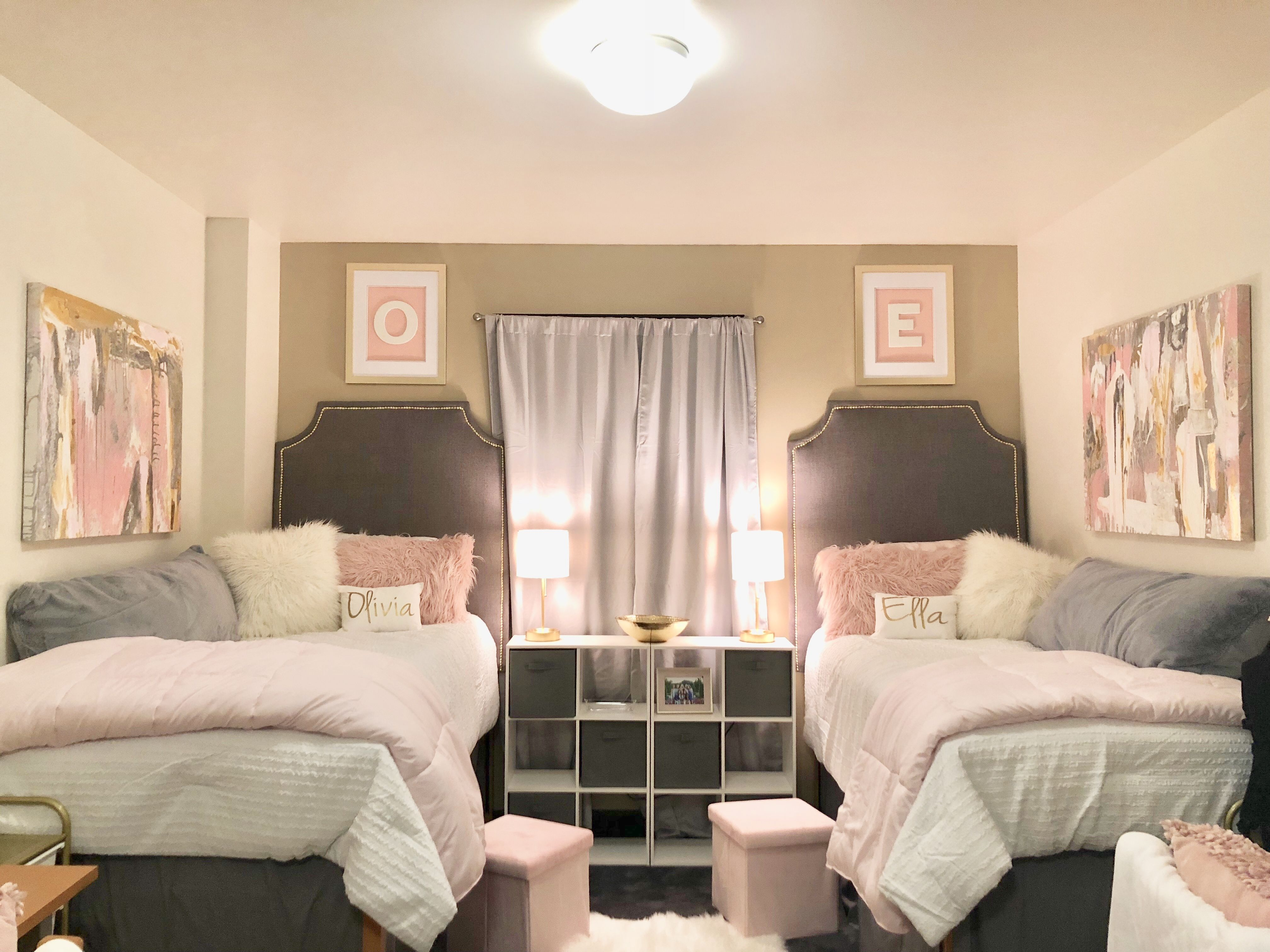 Pink White Gray And Gold Dorm Room Purple Dorm Rooms Pink