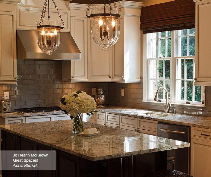 Off White Glazed Cabinets And Dark Kitchen Island Kitchen Craft Off White Kitchens Dark Kitchen Island White Glazed Cabinets