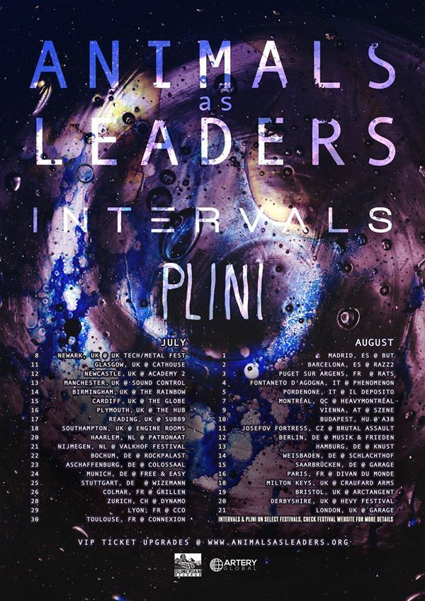 Animals As Leaders Intervals Plini Summer 2016 Tour Music Poster Band Posters Concert Posters