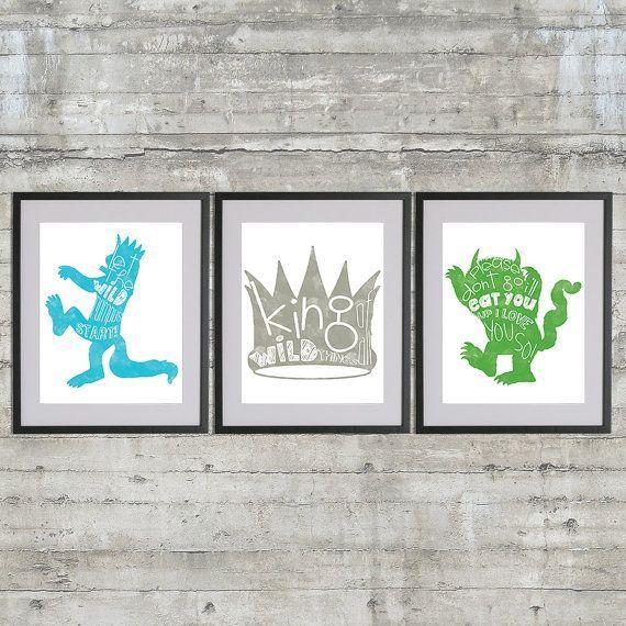 Where The Wild Things Are Nursery Art Print Set Of 3 Prints