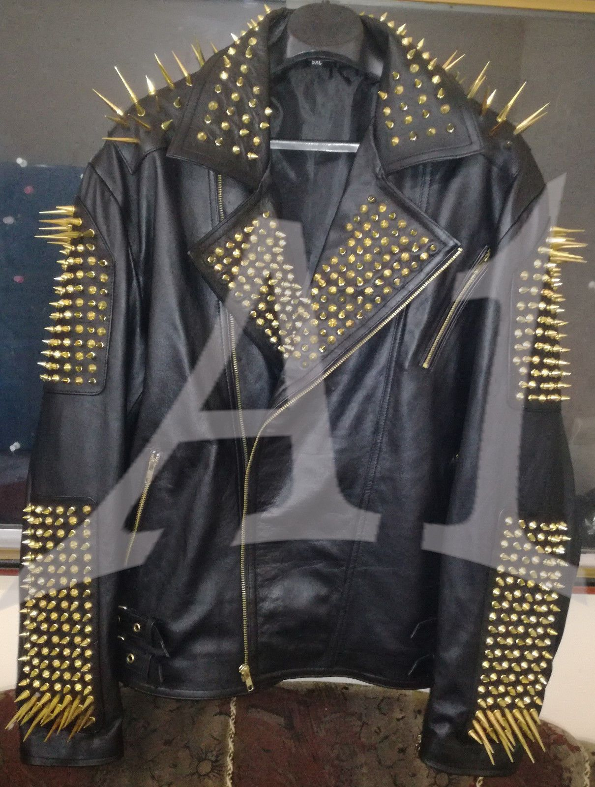 Mens Punk Style Full Black Biker Golden Long Spikes Studded Leather Jacket Coats Jackets Leather Jacket Style Leather Jacket Studded Leather Jacket [ 1600 x 1210 Pixel ]
