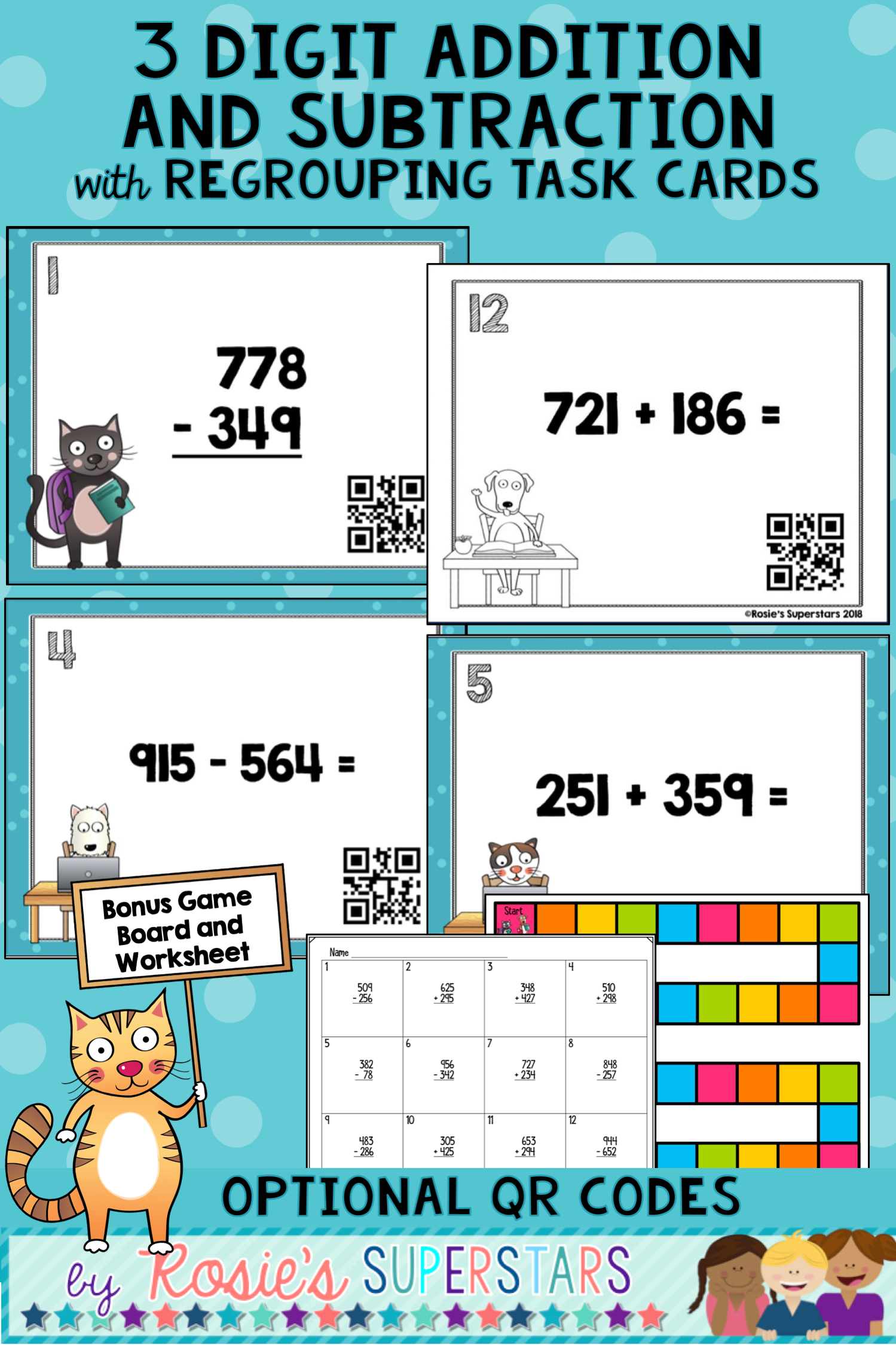 Use These Fun Task Cards To Have Students Practice Three Digit Addition And Subtraction With Regrouping The Ta Addition And Subtraction Task Cards Subtraction [ 2249 x 1499 Pixel ]