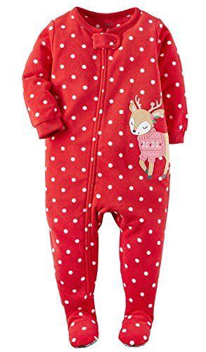 13159c286 Carters Baby Girls 1Piece Fleece Christmas Pajamas 6 Months Sweater ...