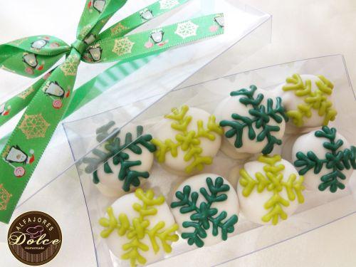 Caja 8 Alfajores chocolate mini navideños