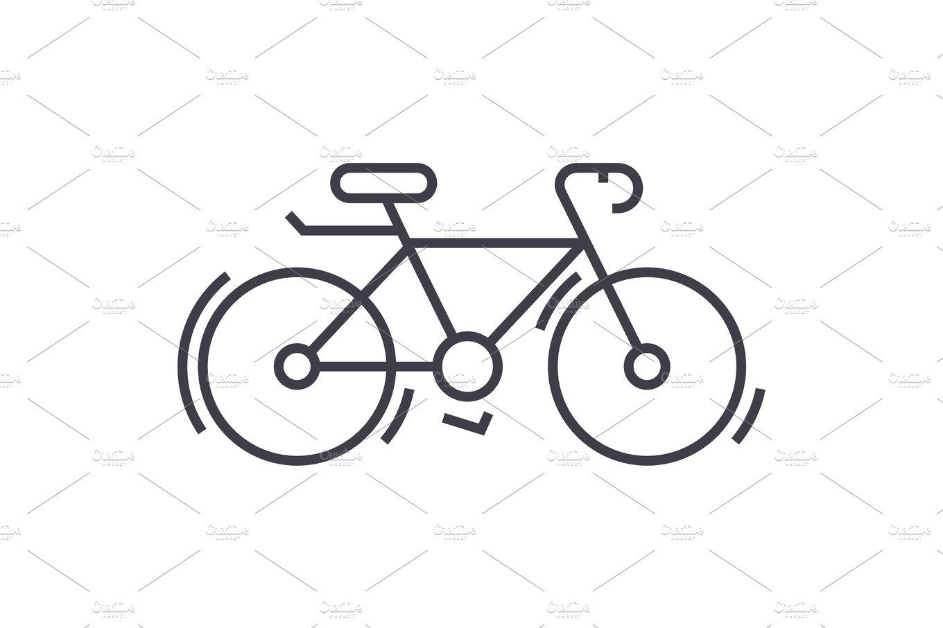 Bycicle vector line icon, sign, illustration on background