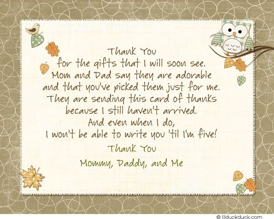 Cute Hoot Owls Thank You Card   Matching Baby Shower