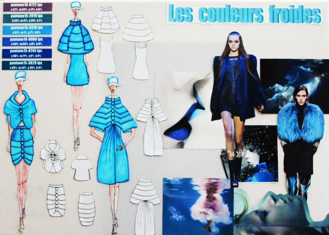 Les Couleurs Froides Moodboard By Ifa Paris Student In Bachelor Fashion Design Fashion Portfolio Mood Board Fashion Bachelor Fashion
