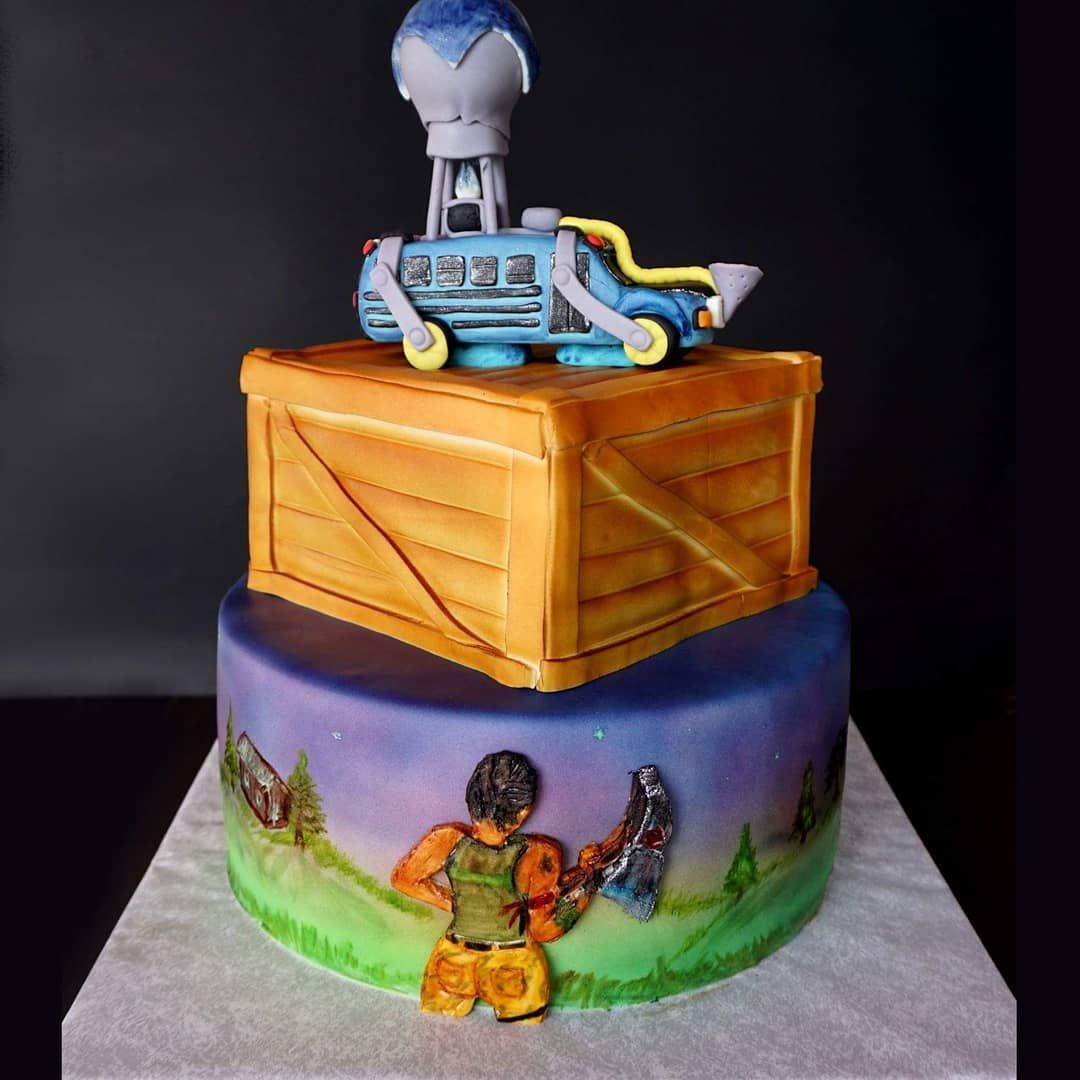 Fortnite Battle Royale Birthdaycake Airbrushedcake Handpaintedcake Fortnitecake