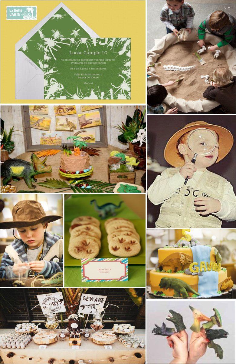 Invitaciones infantiles, invitaciones para fiestas infantiles, cumpleaños de fósiles, cumpleaños