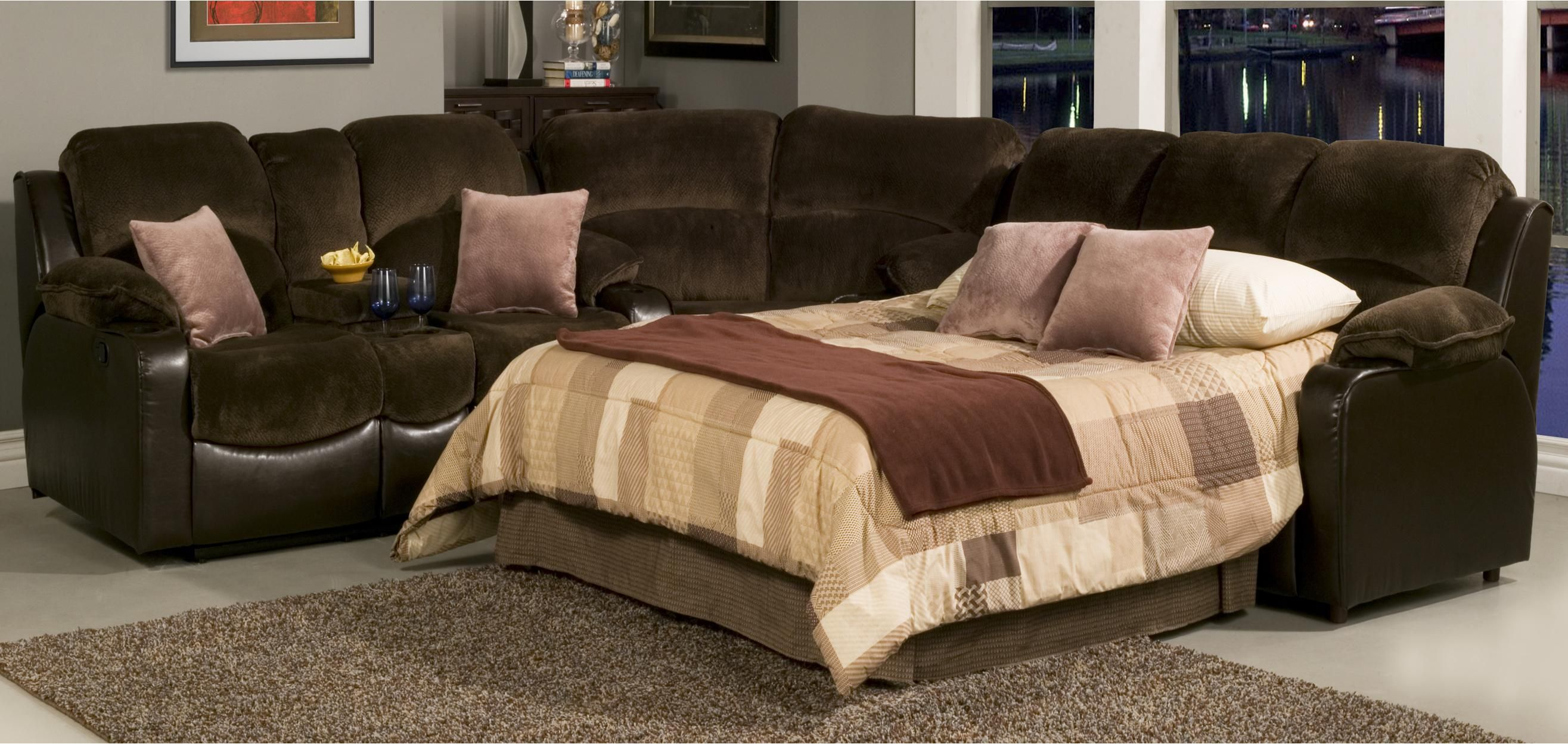 Casual Styled Reclining Sectional Sofa With Sleeper Sectional