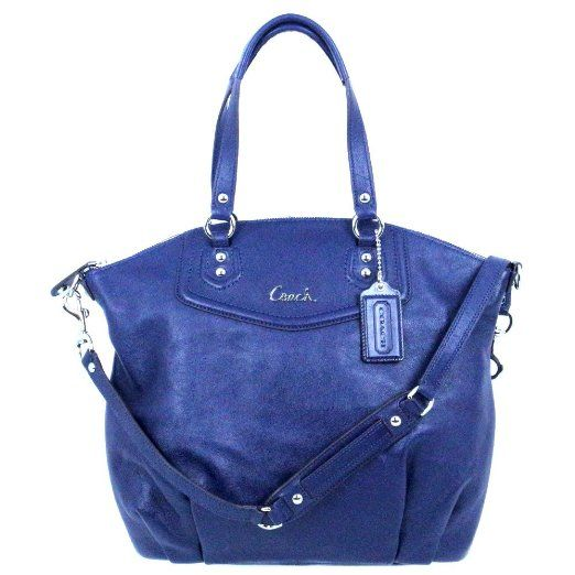 b02b9f725c Amazon.com  Coach Ashley Leather North South Convertible Satchel Bag 23684  Midnight Navy Blue