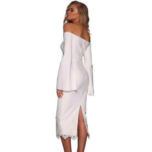 ac0e47b8e1a Black Split Bell Sleeve Off Shoulder Midi Dress White (Black Split Bell  Sleeve Off Shoulder Midi Dress White) by www.irockbags.com