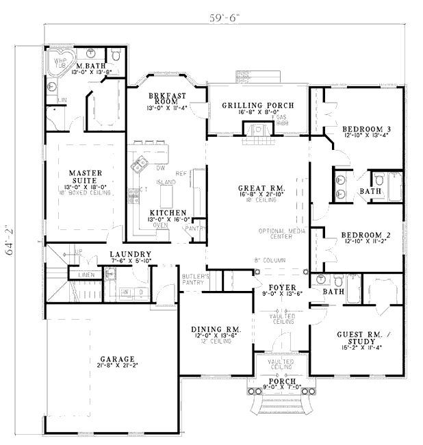 European style house plan 4 beds baths 2542 sq ft for Mudroom laundry room floor plans