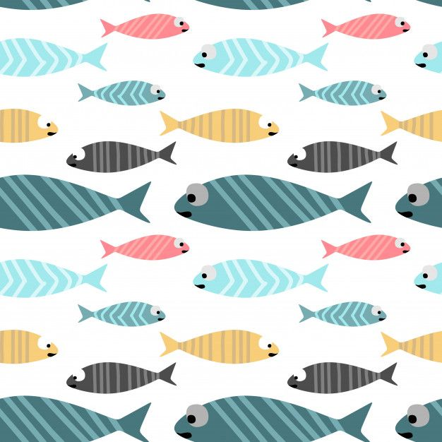 Baby Fish Seamless Pattern Colorful Pastel Colors Background With Images Pastel Color Background Color Vector Seamless Patterns