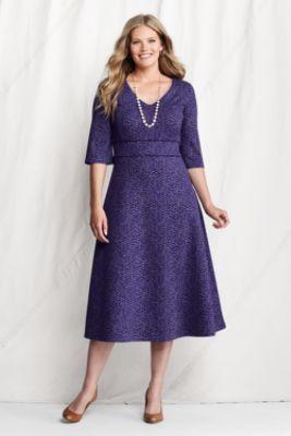 Women's Plus Size Elbow Sleeve Pattern Drapey Ponté V-neck Dress from Lands' End