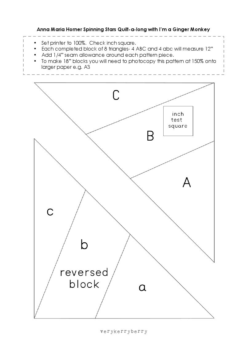 Paper Piecing Template For Spinning Star Block Kirkyama Ve Aplke Diagram