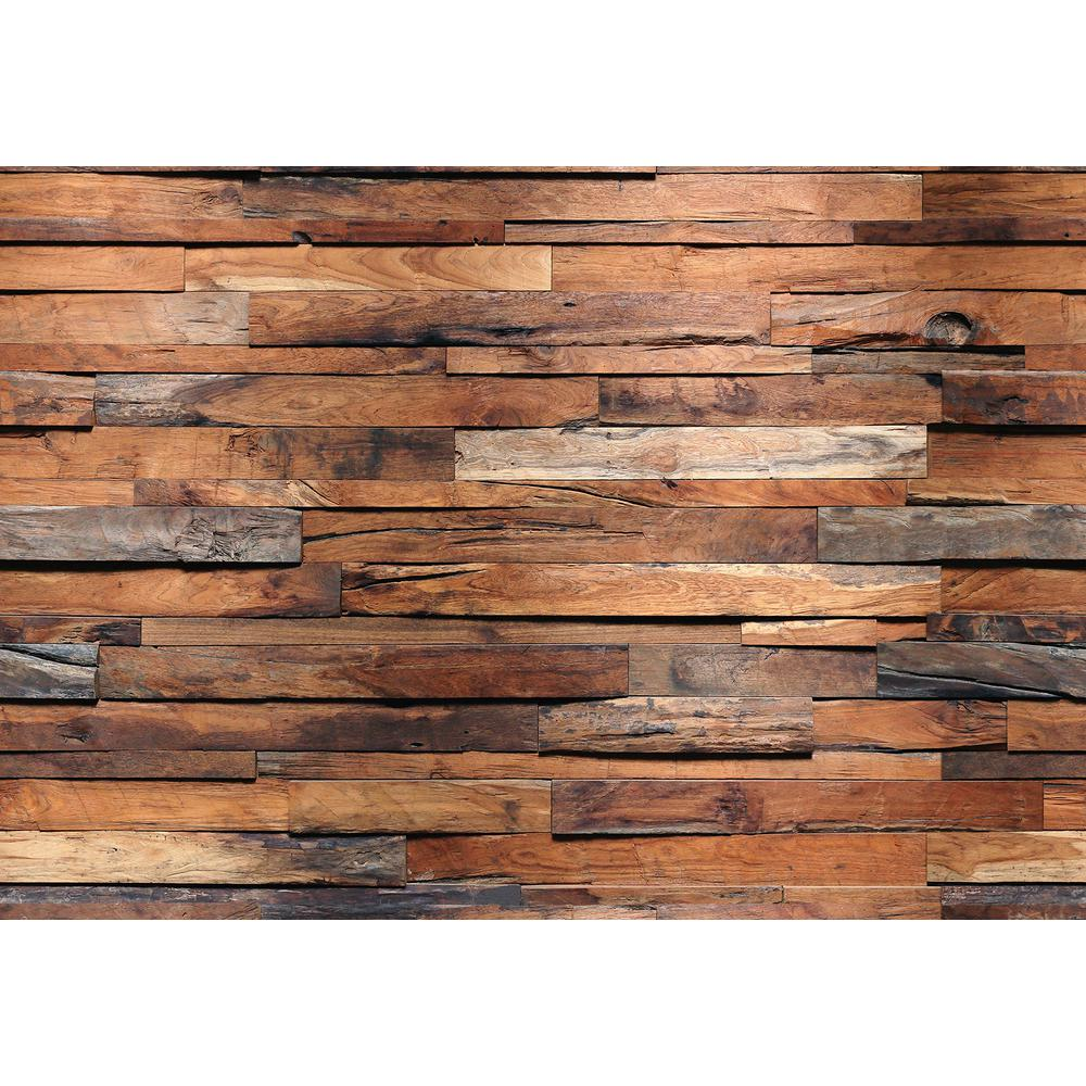 Ideal Decor 100 In H X 144 In W Reclaimed Wood Wall Mural In