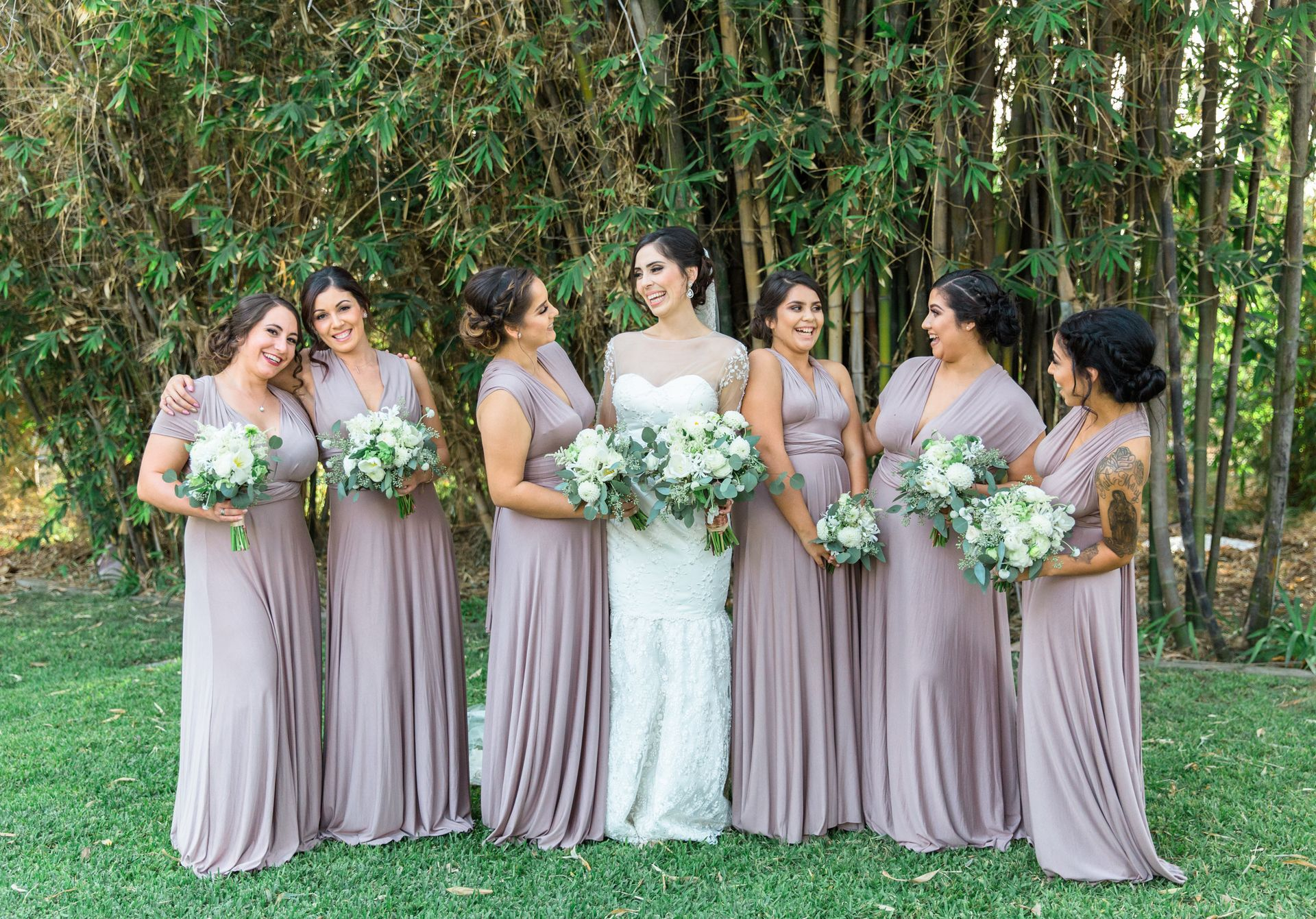 Natural fall wedding in california santa fe springs ca silk bridal party fashion long lavender bridesmaid dresses silk gowns white floral wedding bouquets ombrellifo Images