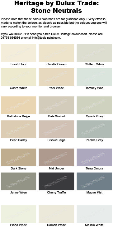 Stone And Neutral Shades From The Dulux Heritage Colour Chart