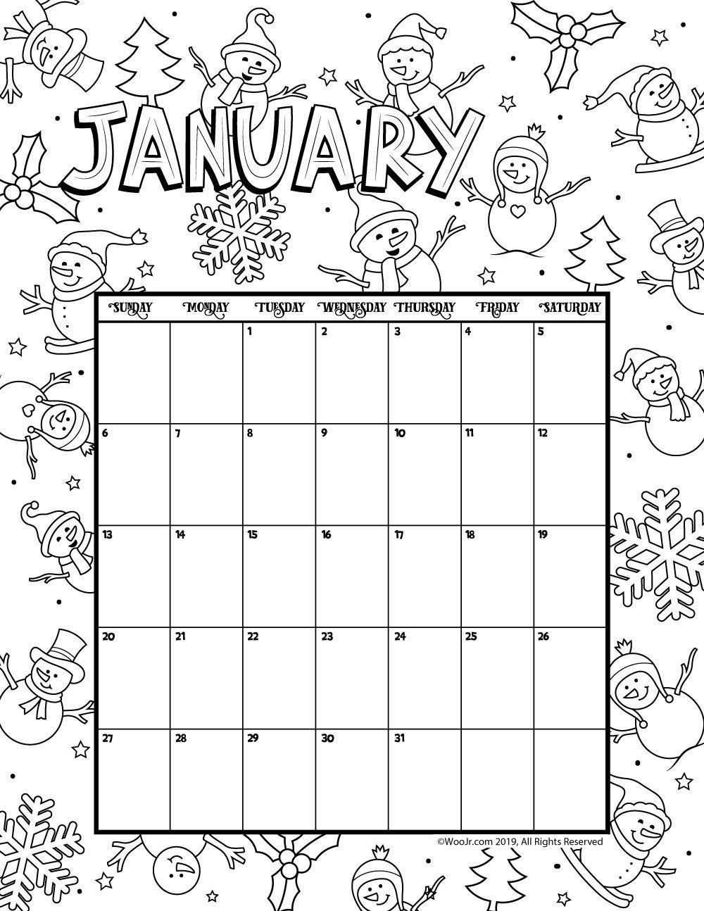 January 2019 Coloring Calendar Woo Jr Kids Activities Coloring Calendar Kids Calendar January Calendar
