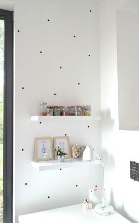 Stickers en forme de pois noirs, pour aménager un bureau, un atelier - Amenager Une Chambre D Enfant