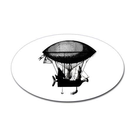 Steampunk pirate airship Oval Sticker