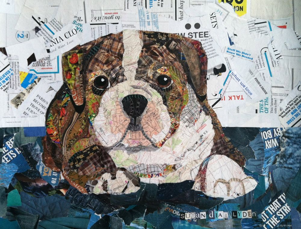 Retro Bulldog Puppy Collage By Susanlydenartworks On Etsy