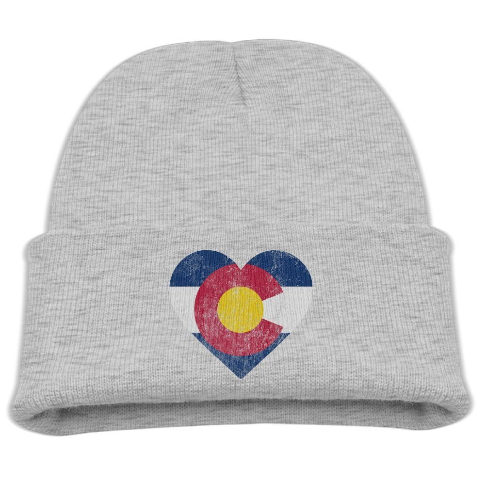 6479c59e2a0 Vintage Fade Colorado Flag Heart Unisex Kids Warm Winter Hat Knit Beanie  Skull Cap Cuff Beanie