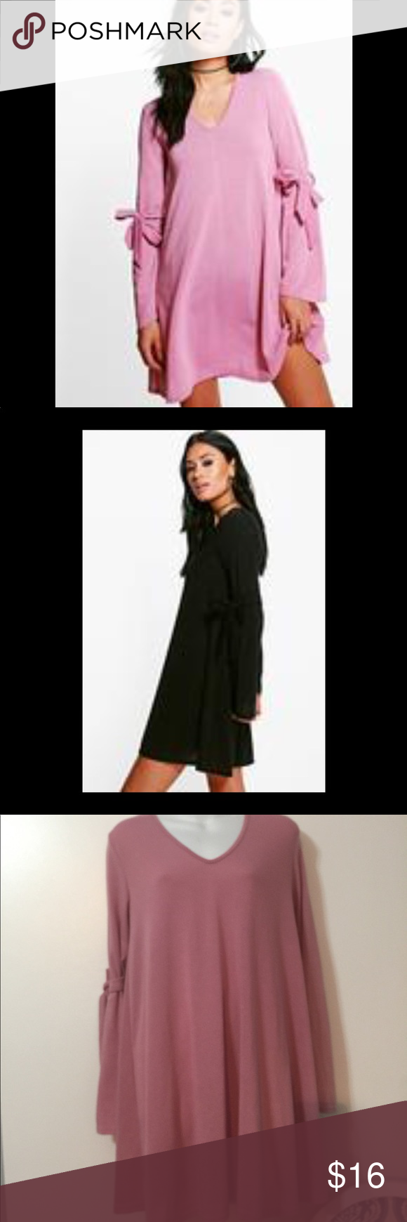 d3839e53c9f1 Boohoo Hannah tie detail swing Jumper dress Has a V - neck . Long sleeves  with