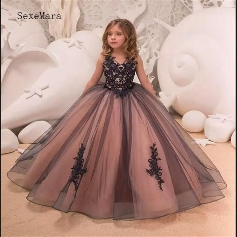 a109aea4ed9f Pageant Kids Gown for Princess Black Lace Flower Girl Dresses For ...