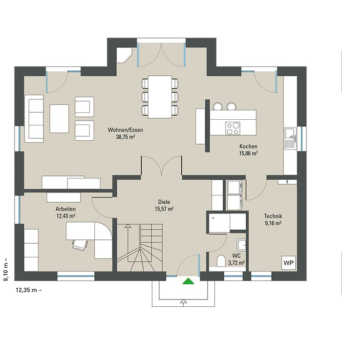 Modernes Einfamilienhaus Kiefernallee Variante 1 GUSSEK HAUS