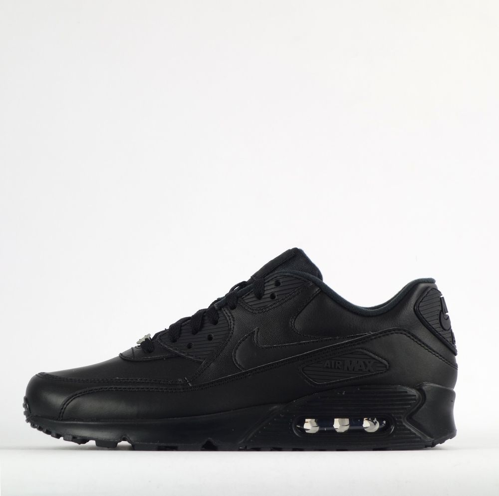 promo code a04af dbfbe Nike Air Max 90 Leather Triple Plain Black Mens Trainers Shoes Sneakers   Nike  CasualTrainers