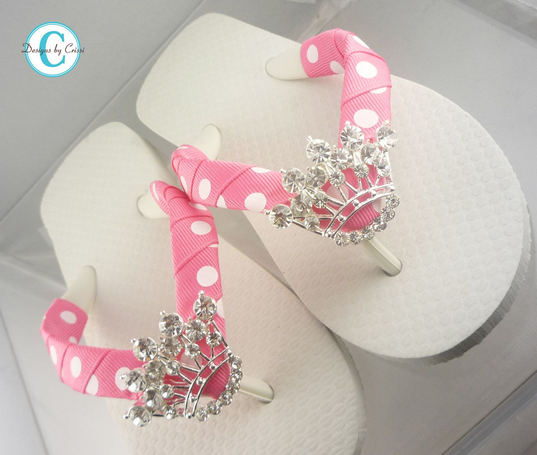 cb42272c51834 Princess Crown Flip Flops Bling Rhinestone Buckle Girls Boutique ...