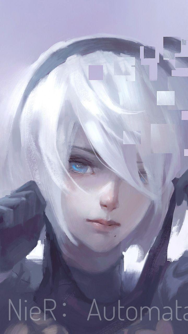 Nier Automata White Hair B2 Artwork 720x1280 Wallpaper In 2020