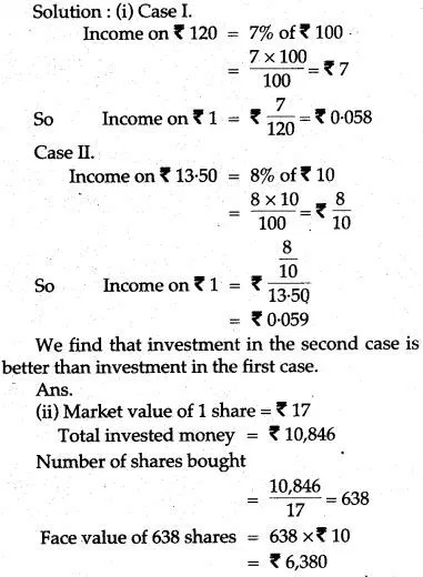 ICSE Solutions for Class 10 Mathematics Shares and