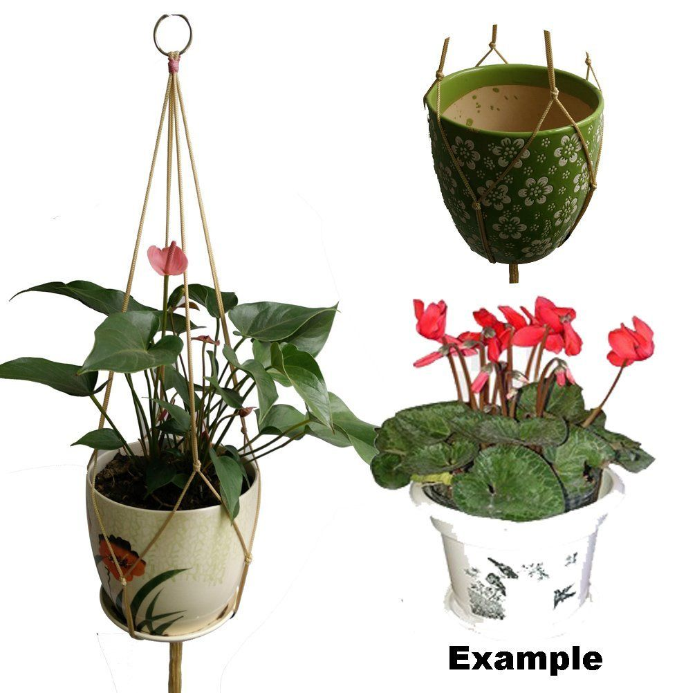 4 Legs 36 Inches Beige Nylon Rope Macrame Plant Holders Fits 8 Inch Pots Holder Without The Gl Pot And Flower Hangers Are Made For
