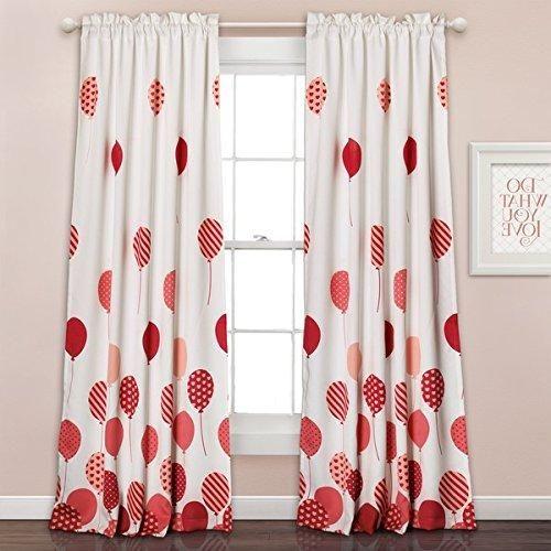 Girls Flying Balloon Salmon Pink White Window Curtain Set 84 ...