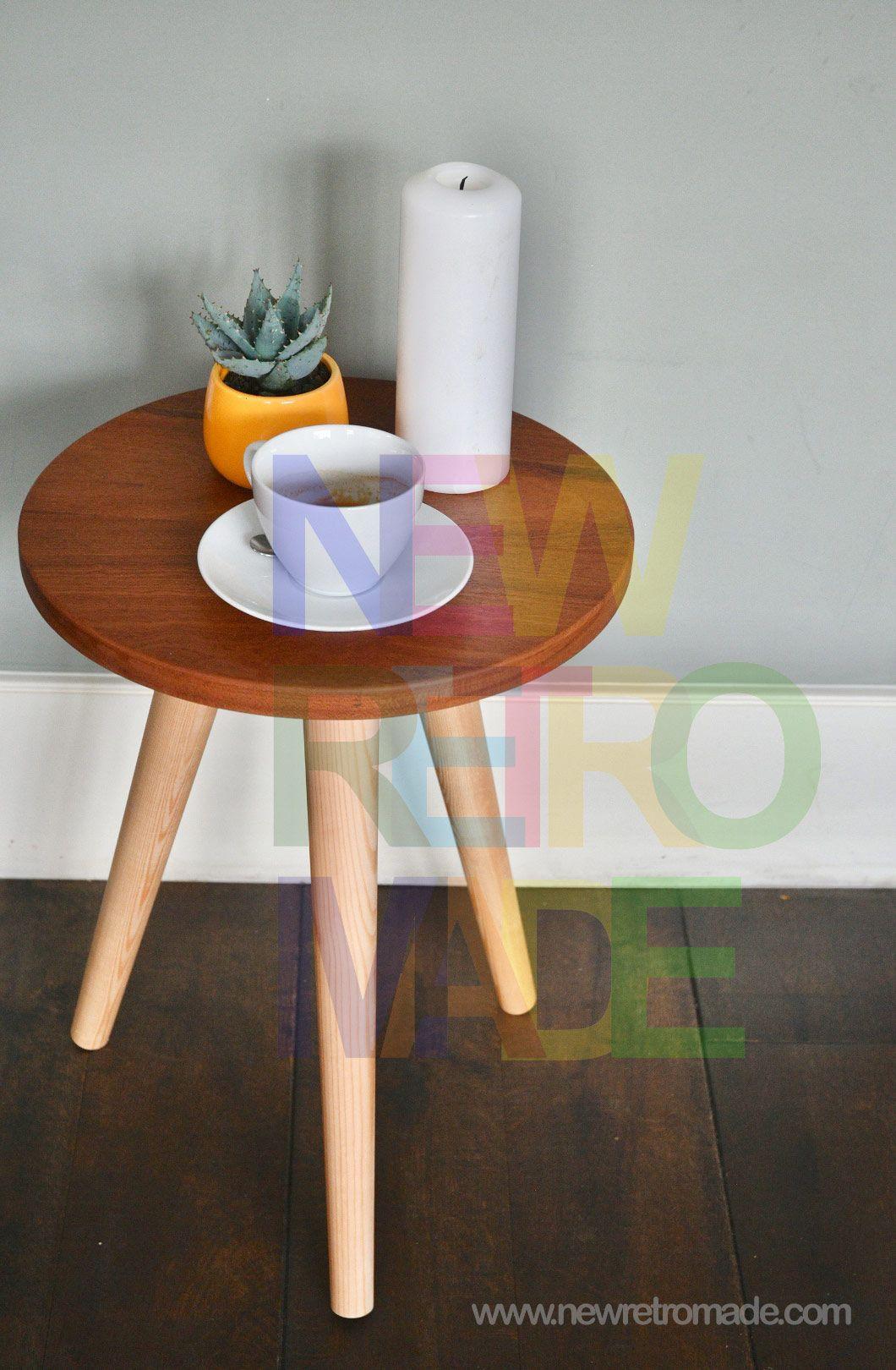 rustic stool on tapered legs oak small