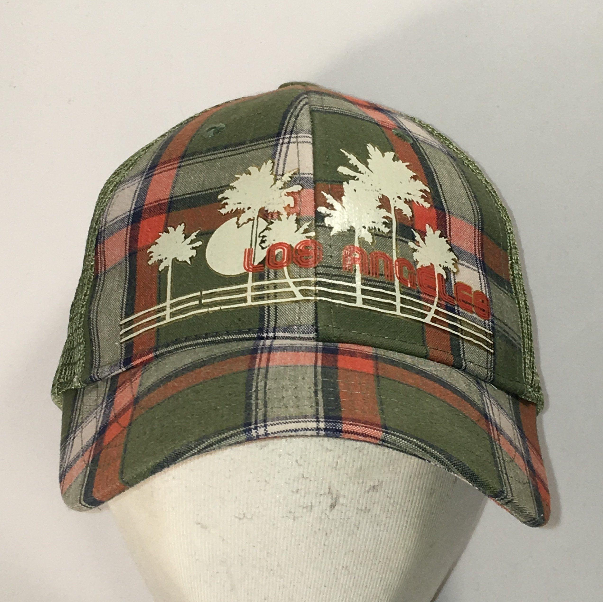 734fa4c31 Vintage Snapback Plaid Hat Los Angeles Mesh Back Baseball Cap ...
