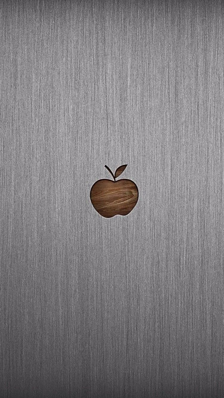 Wood Apple Metal Background Iphone X Wallpaper Apple Logo