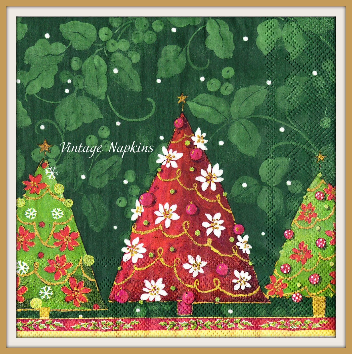 Sale two paper napkins for decoupage christmas red and green