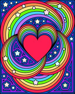 rainbow heart with a blank version to color - Blank Rainbow To Color