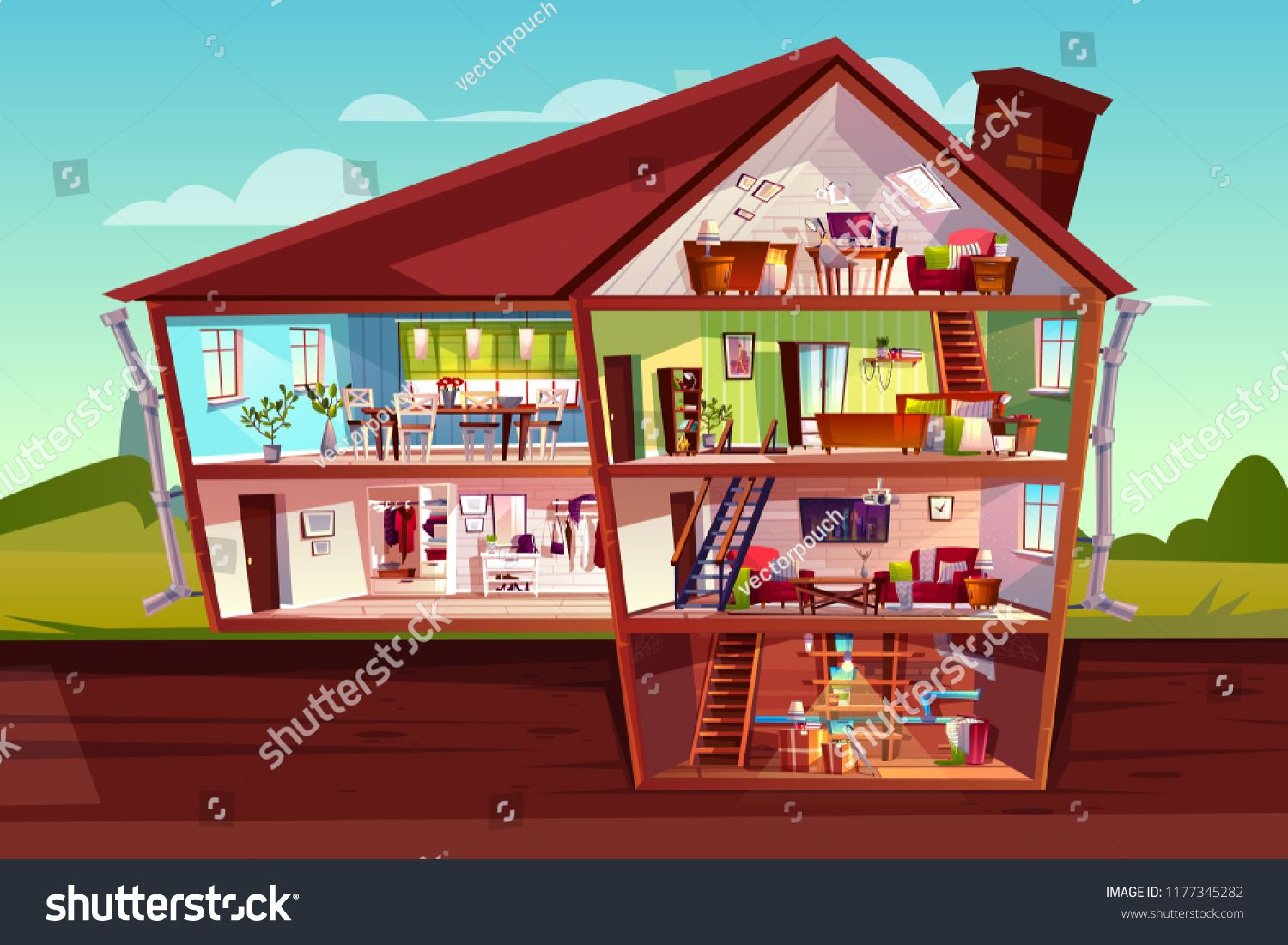 House Cross Section Vector Illustration Of Home Interior And Furniture Cartoon Private Mansion Floors Plan Of Attic Livin House House Interior Mansions Homes
