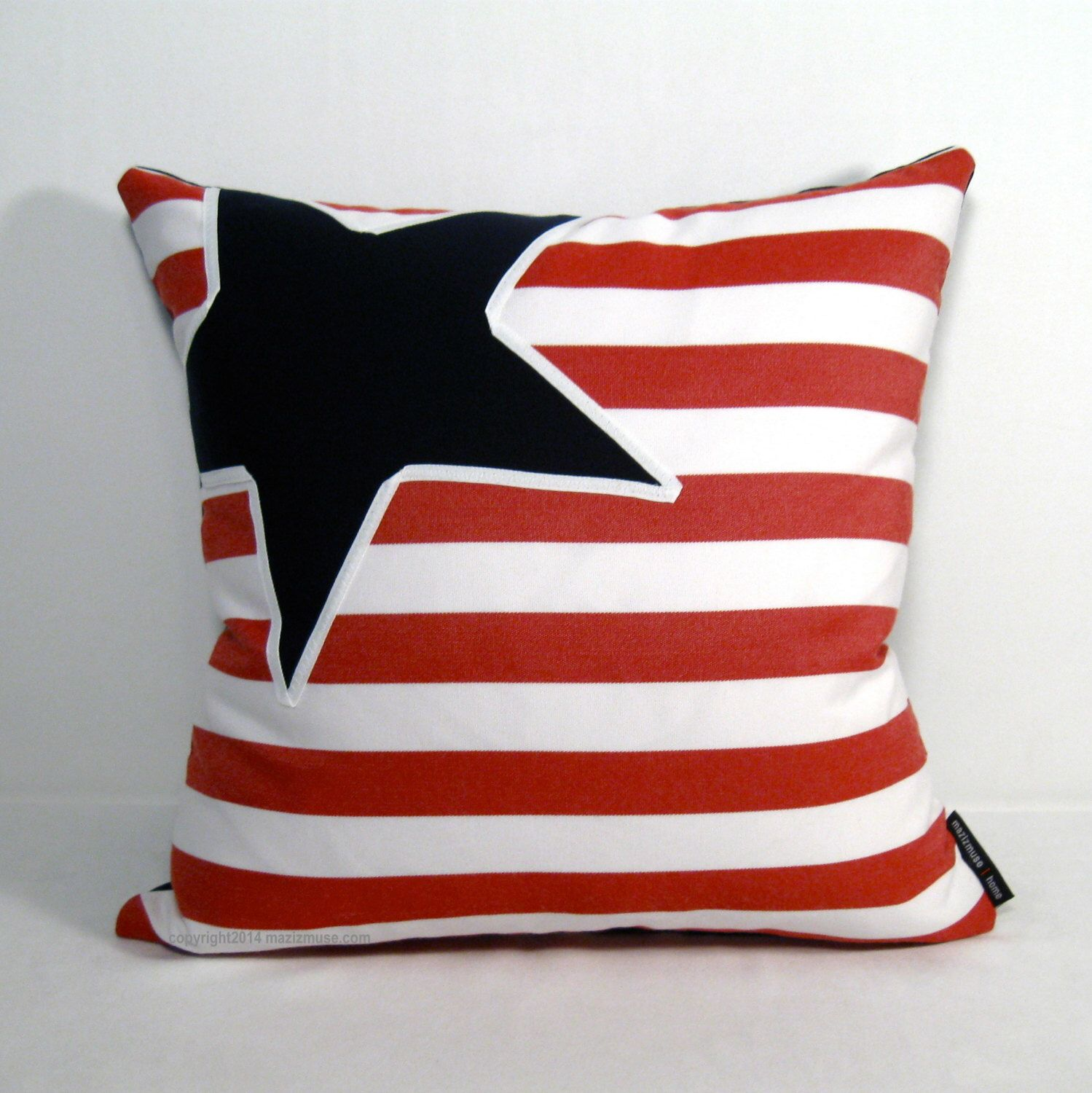 Nautical Pillow Cover  Red White Blue Outdoor Pillows  Decorative Star  Pillows  Navy Blue